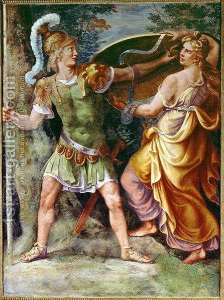 Thetis giving Achilles his arms by Giulio Romano (Orbetto) - Reproduction Oil Painting