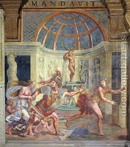Venus, whose pricked foot stains the petals of a rose red, with Mars who pursues Adonis with an unsheathed sword from the Sala di Amore e Psiche, 1528 by Giulio Romano (Orbetto) - Reproduction Oil Painting