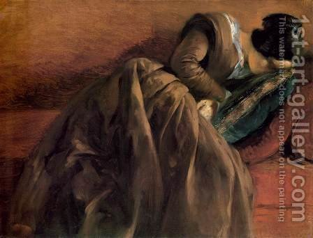Sister Emily Sleeping c. 1848 by Adolph von Menzel - Reproduction Oil Painting