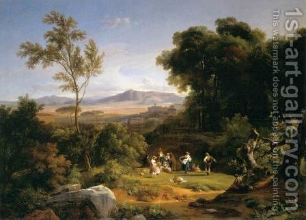 Landscape Inspired by the View of Frascati 1822 by Achille-Etna Michallon - Reproduction Oil Painting