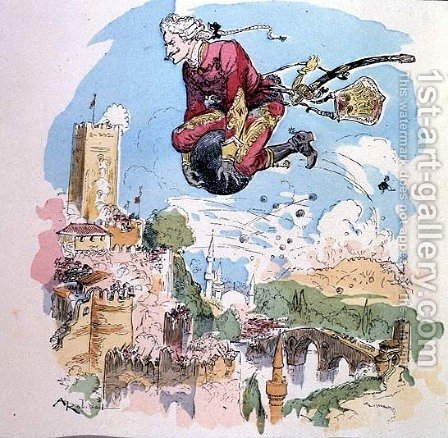 Illustration from The Adventures of Baron Munchausen by Albert Robida - Reproduction Oil Painting