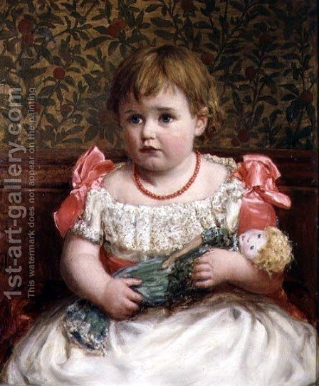 Henry Robert Robertson: Portrait of a Little Girl with Her Doll - reproduction oil painting