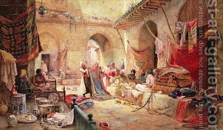 Charles Robertson: Carpet Bazaar, Cairo, 1887 - reproduction oil painting