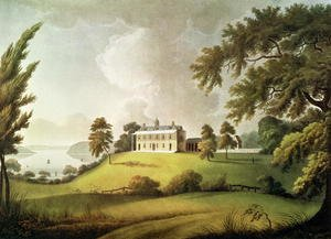 Academic Classicism painting reproductions: Mount Vernon, Virginia, home of George Washington, engraved by Francis Jukes 1745-1812 1800