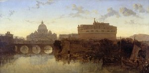 Romanticism painting reproductions: Rome, St Peters and the Castel St. Angelo