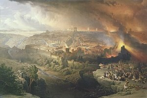 Romanticism painting reproductions: The Destruction of Jerusalem in 70 AD, engraved by Louis Haghe 1806-85