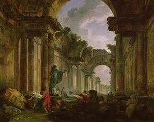 Rococo painting reproductions: Imaginary View of the Grand Gallery of the Louvre in Ruins, 1796