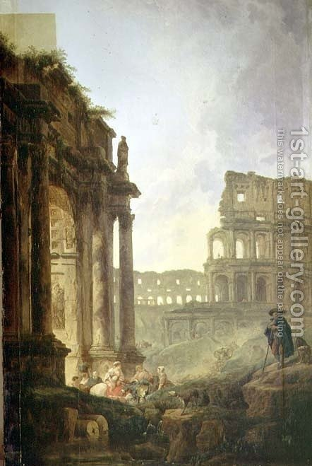 Italian landscape by Hubert Robert - Reproduction Oil Painting