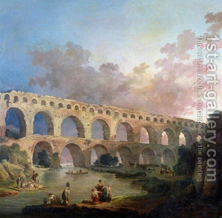 The Pont du Gard, Nimes, c.1786 by Hubert Robert - Reproduction Oil Painting