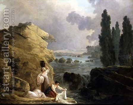 Washerwomen by a Cascade, c.1800 by Hubert Robert - Reproduction Oil Painting