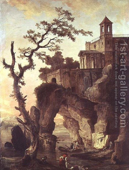 Architectural Ruins in a Rocky Landscape by Hubert Robert - Reproduction Oil Painting