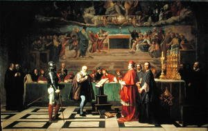 Famous paintings of Furniture: Galileo Galilei 1564-1642 before members of the Holy Office in the Vatican in 1633, 1847