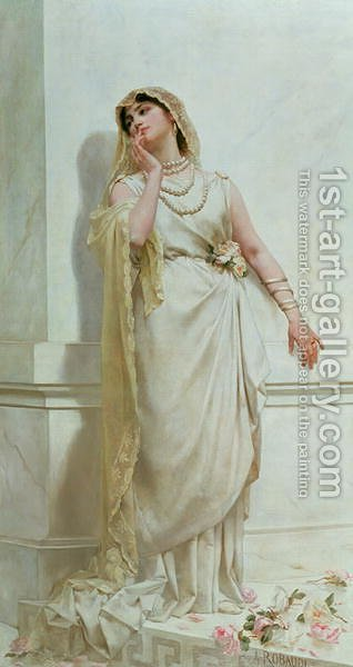 The Young Bride, 1883 by Alcide Theophile Robaudi - Reproduction Oil Painting