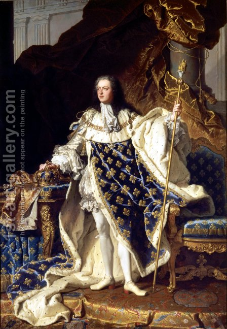 Portrait of Louis XV 1715-74 in his Coronation Robes, 1730 by Hyacinthe Rigaud - Reproduction Oil Painting