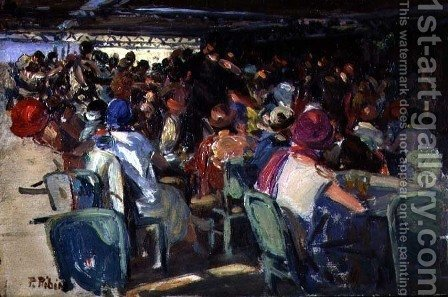 Cafe Scene by Pedro Ribera - Reproduction Oil Painting