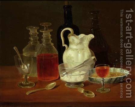 Still Life with Decanters by J. Rhodes - Reproduction Oil Painting