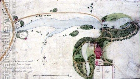 A Garden Plan for Gosfield Place, Essex, 1811 by Humphry Repton - Reproduction Oil Painting