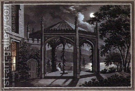 Pavilion and Greenhouse for a Gothic Mansion, from Observations on the Theory and Practice of Landscape Gardening, pub. 1802 by Humphry Repton - Reproduction Oil Painting