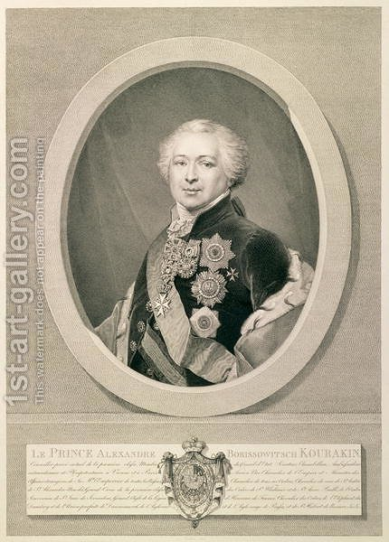 Portrait of Prince Kurakin, engraved by Nikolai Ivanovich Utkin 1780-1863, 1812 by (after) Renu, J.B. - Reproduction Oil Painting