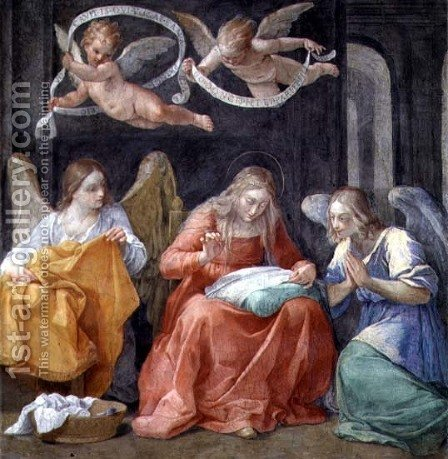 The Virgin Sewing, from the Cappella dellAnnunciata Chapel of the Annunciation 1610 by Guido Reni - Reproduction Oil Painting