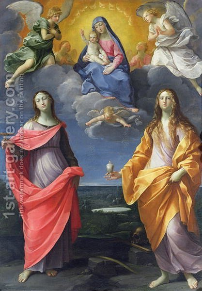 Madonna and Child with St. Lucy and Mary Magdalene, called the Madonna of the Snow, c.1623 by Guido Reni - Reproduction Oil Painting