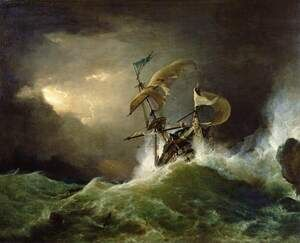 Famous paintings of Storms & Rough Water: A First rate Man-of-War driven onto a reef of rocks, floundering in a gale