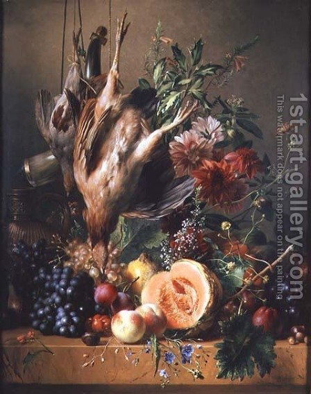 Partridges, grapes, plums, peaches, a melon and chrysanthemums on a ledge by Hendrik Reekers - Reproduction Oil Painting