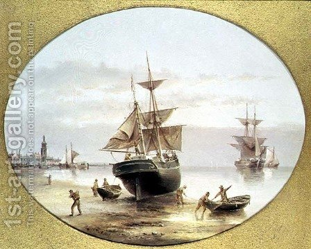 Harbour Scene by Henry Redmore - Reproduction Oil Painting