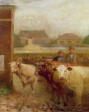 Reproduction oil paintings - John Burell Read - Drover Road, Croydon, Market Day, 1903
