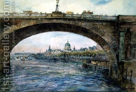 Waterloo Bridge with St. Pauls Cathedral in the Distance by Alfred Rawlings - Reproduction Oil Painting