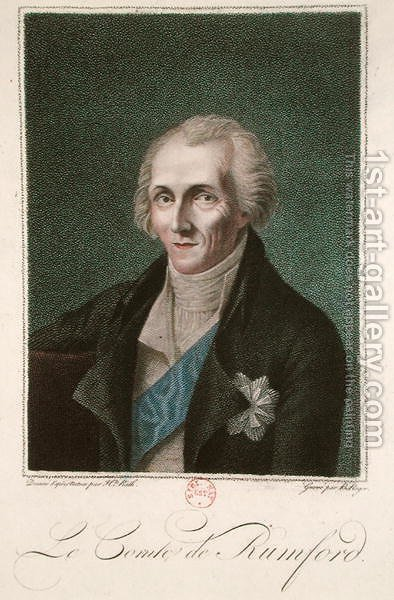 Benjamin Thompson 1753-1814 Count Rumford, engraved by B. Roger by (after) Rath, Henriette - Reproduction Oil Painting