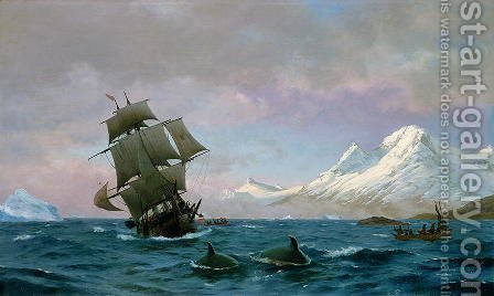 Catching whales, 1875 by J.E. Carl Rasmussen - Reproduction Oil Painting