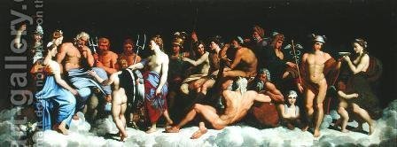The Assembly of the Gods, after the frescoes in the Loggia of the Farnesina in Rome by (after) Raphael (Raffaello Sanzio of Urbino) - Reproduction Oil Painting