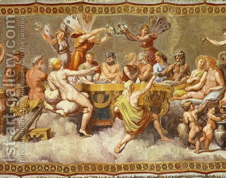 The Banquet of the Gods, ceiling painting of the Courtship and Marriage of Cupid and Psyche 2 by (after) Raphael (Raffaello Sanzio of Urbino) - Reproduction Oil Painting
