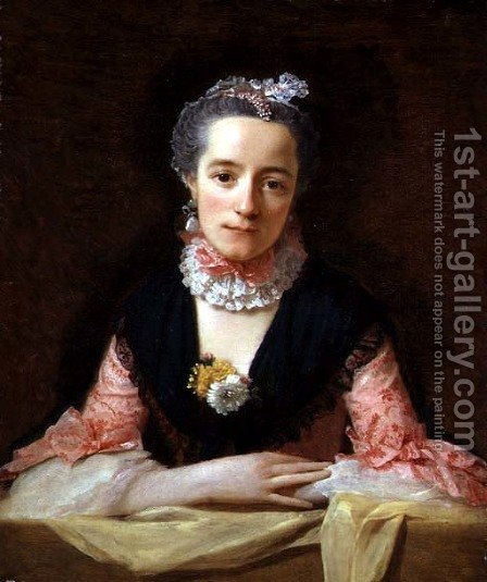 An Unknown Woman in a Pink Dress by Allan Ramsay - Reproduction Oil Painting