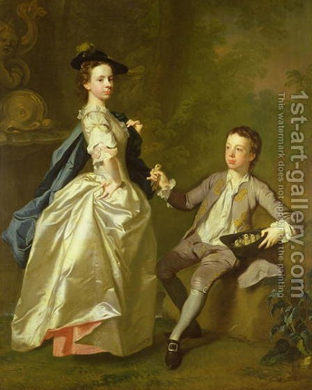 The Hon. Rachel Hamilton and her brother, the Hon. Charles Hamilton, 1740 by Allan Ramsay - Reproduction Oil Painting