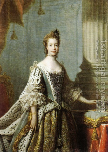 Charlotte Sophia of Mecklenburg-Strelitz, 1762 by Allan Ramsay - Reproduction Oil Painting