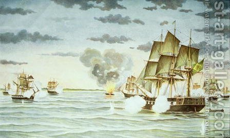 The Battle of Quilmes during the Cisplatine War 1825-28 between Uruguay and Brazil by J. Raison - Reproduction Oil Painting