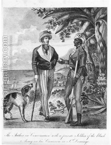 Captain Marcus Rainsford c.1750-c.1805 with a private soldier of the Black Army, frontispiece to An Historical Account of the Black Empire of Hayti, published 1805 by (after) Rainsford, Marcus - Reproduction Oil Painting