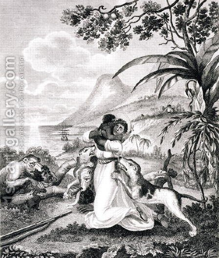 Blood Hounds attacking a Black Family in the Woods, from 'An Historical Account of the Black Empire of Haiti', by Marcus Rainsford, engraved by Inigo Barlow fl.1790, published 1805 by (after) Rainsford, Marcus - Reproduction Oil Painting