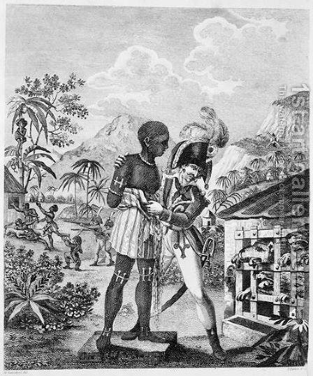 The Mode of training Blood Hounds in St. Domingo and of exercising them by Chasseurs, from An Historical Account of the Black Empire of Haiti, by Marcus Rainsford, engraved by Inigo Barlow fl.1790, published 1805 by (after) Rainsford, Marcus - Reproduction Oil Painting