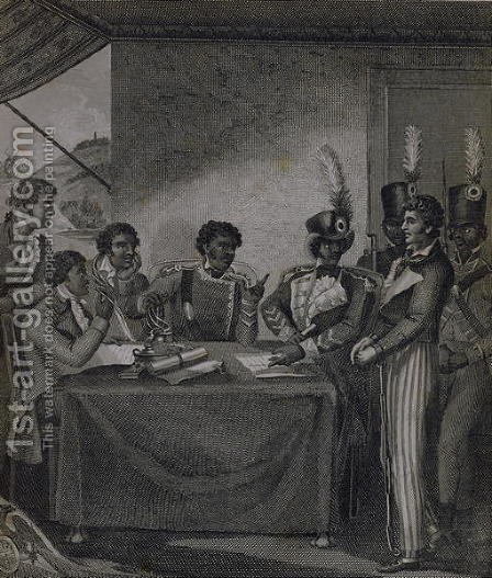General Christophe at the Court Martial which Sentenced the Author to Death, from An Historical Account of the Black Empire of Hayti written by the artist, engraved by J. Barlow, published 1805 by (after) Rainsford, Marcus - Reproduction Oil Painting