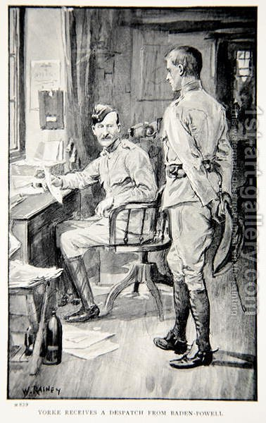 Yorke receives a despatch from Baden-Powell, an illustration from With Roberts to Pretoria A Tale of the South African War by G.A. Henty, pub. London, 1902 by (after) Rainey, William - Reproduction Oil Painting