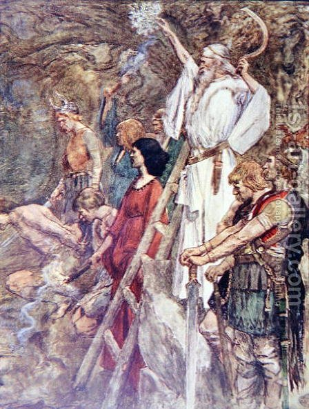 There Under the Oak Trees they would Gather, plate from The Story of France by Mary MacGregor, 1911 by (after) Rainey, William - Reproduction Oil Painting