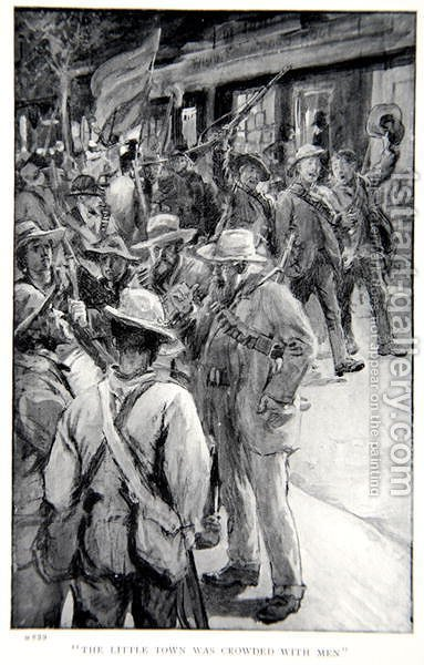 The little town was crowded with men, an illustration from With Roberts to Pretoria A Tale of the South African War by G.A. Henty, pub. London, 1902 by (after) Rainey, William - Reproduction Oil Painting