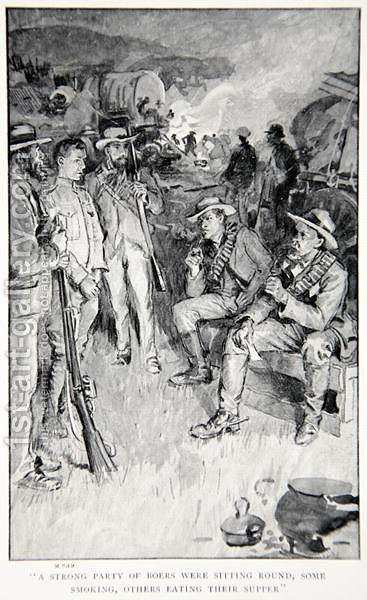 A strong party of Boers were sitting round, some smoking, others eating their supper, an illustration from With Roberts to Pretoria A Tale of the South African War by G.A. Henty, pub. London, 1902 by (after) Rainey, William - Reproduction Oil Painting