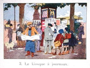 A Newspaper Kiosk in Paris, after 1918