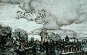 Famous paintings of Fairies: Peter Pan flying over London, illustration from Peter Pan by J.M. Barrie 1860-1937