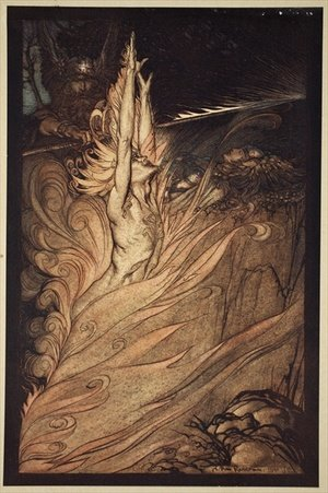 Arthur Rackham reproductions - Appear, flickering fire, Encircle the rock with thy flame Loge Loge Appear, illustration from The Rhinegold and the Valkyrie, 1910