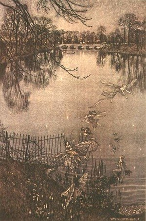 Famous paintings of Fairies: Fairies in Kensington Gardens from Peter Pan in Kensington Gardens by J.M. Barrie, 1906
